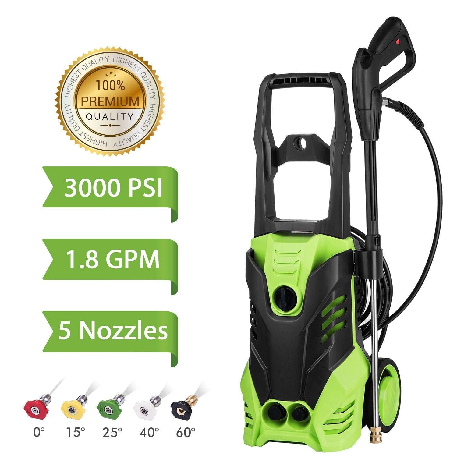 Flagup 3000psi, 1800w, 1.80 GPM Electric Pressure Washer