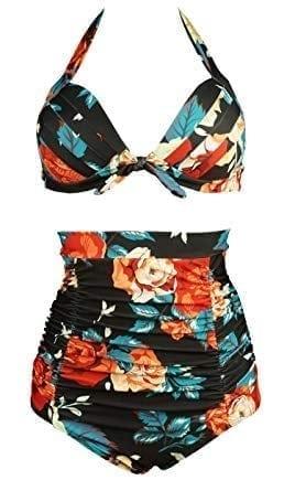 COCOSHIP Retro 50s Black Pink Blue Floral Halter High Waist Bikini Set Halter