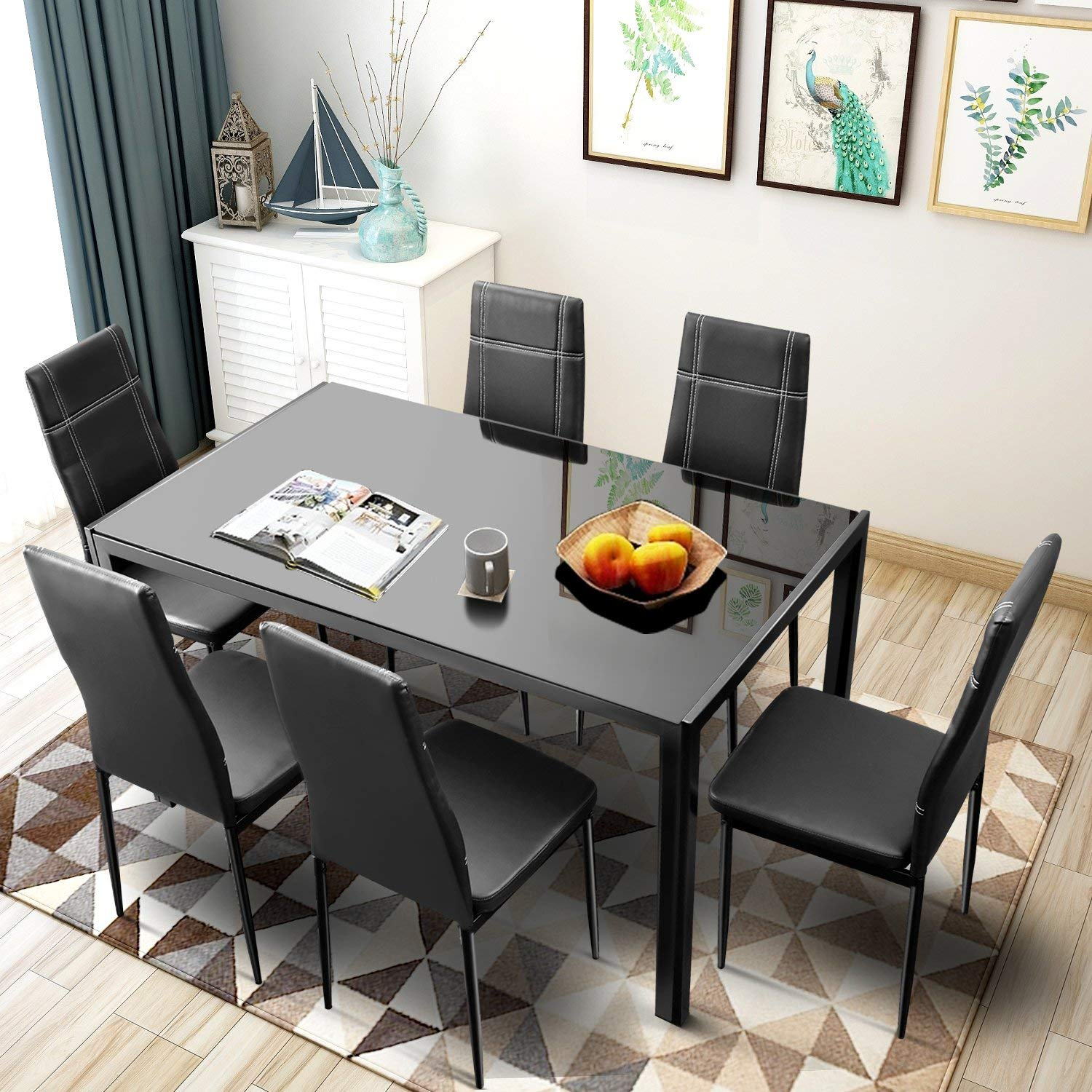 Merax. 7-piece Dining Set Glass Top Metal Table