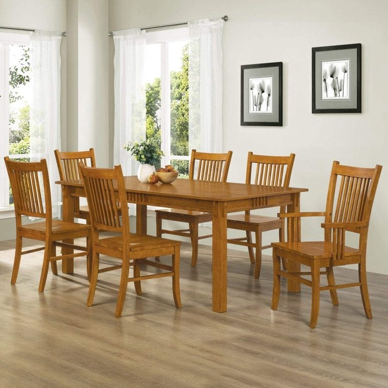 Coaster Home Furnishings 7-Piece Mission Style Solid Hardwood Dining Table & Chairs Set