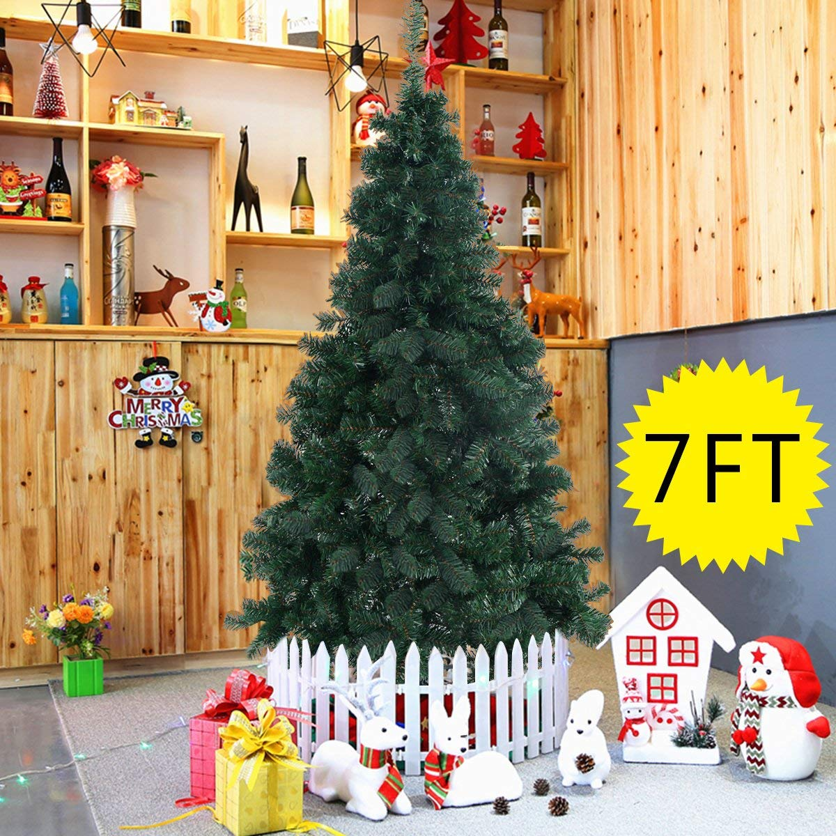 Goplus 7' Artificial Christmas tree Spruce