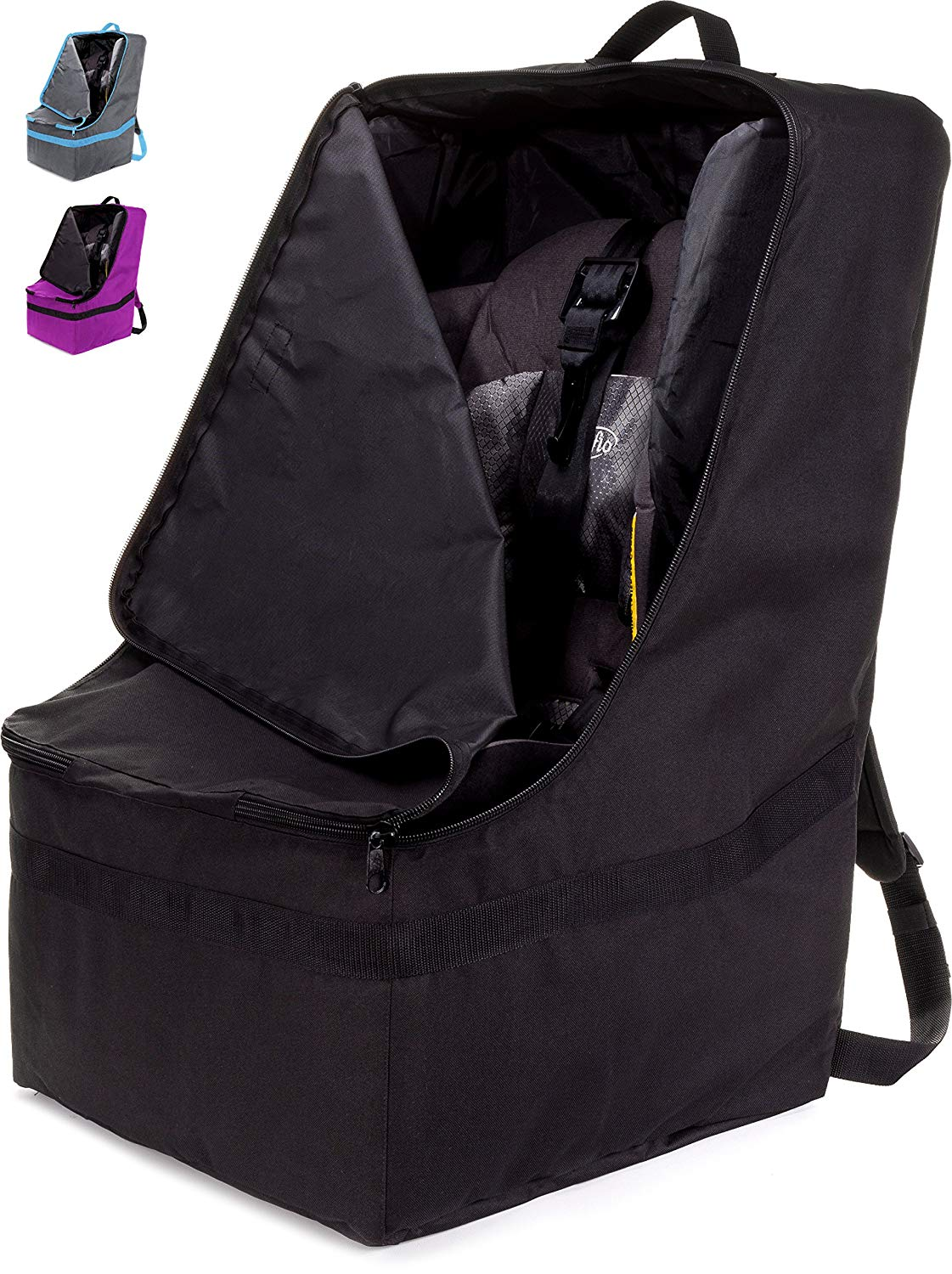 ZOHZO Car Seat Travel Bag, Black with Black Trim