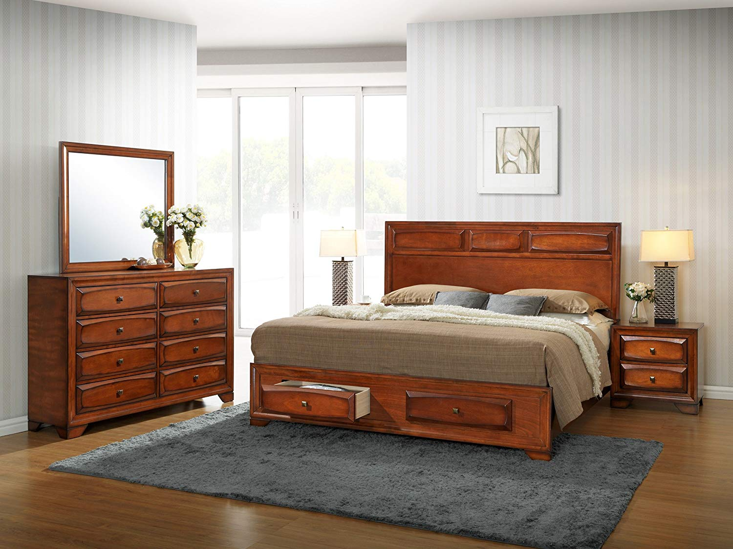 Roundhill Furniture B139KDMN2 Oakland 139 Antique Oak Finish Wood King Bedroom Set