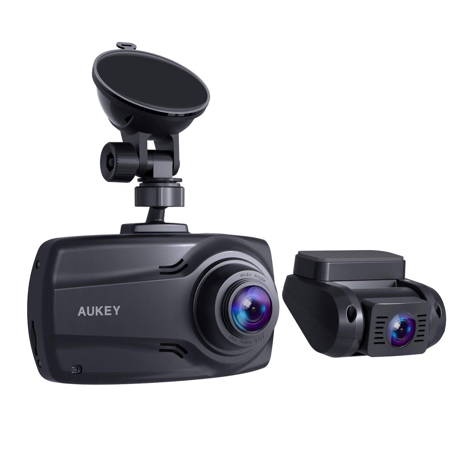 AUKEY 1080P dual dash cams with 2.7'' screen, full HD front and rear camera, 6 lane view, and 170o wide view angle lens