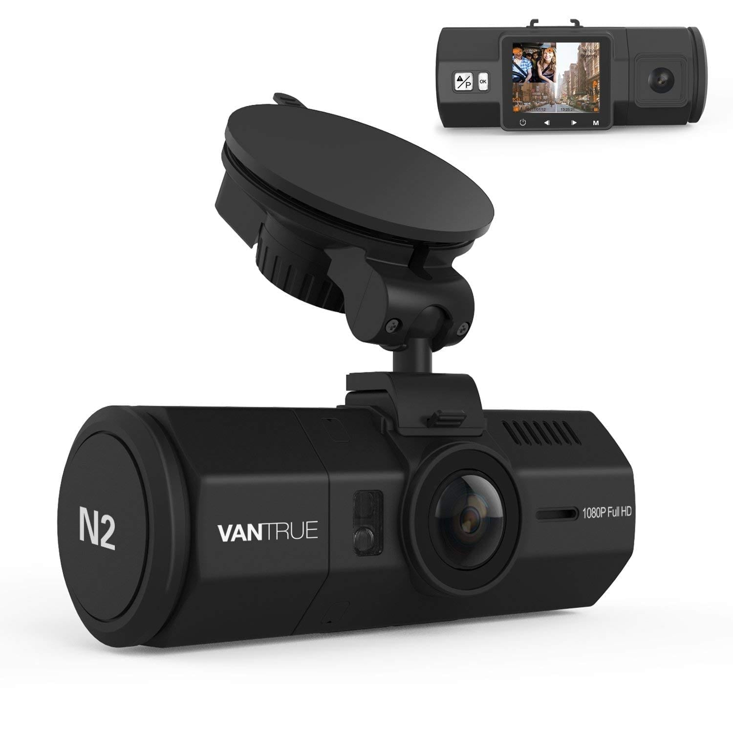 "Vantrue N2 Uber & Lyft dual dash cam with 1080P resolution, 1.5"" screen, and near 360o wide angle recording."