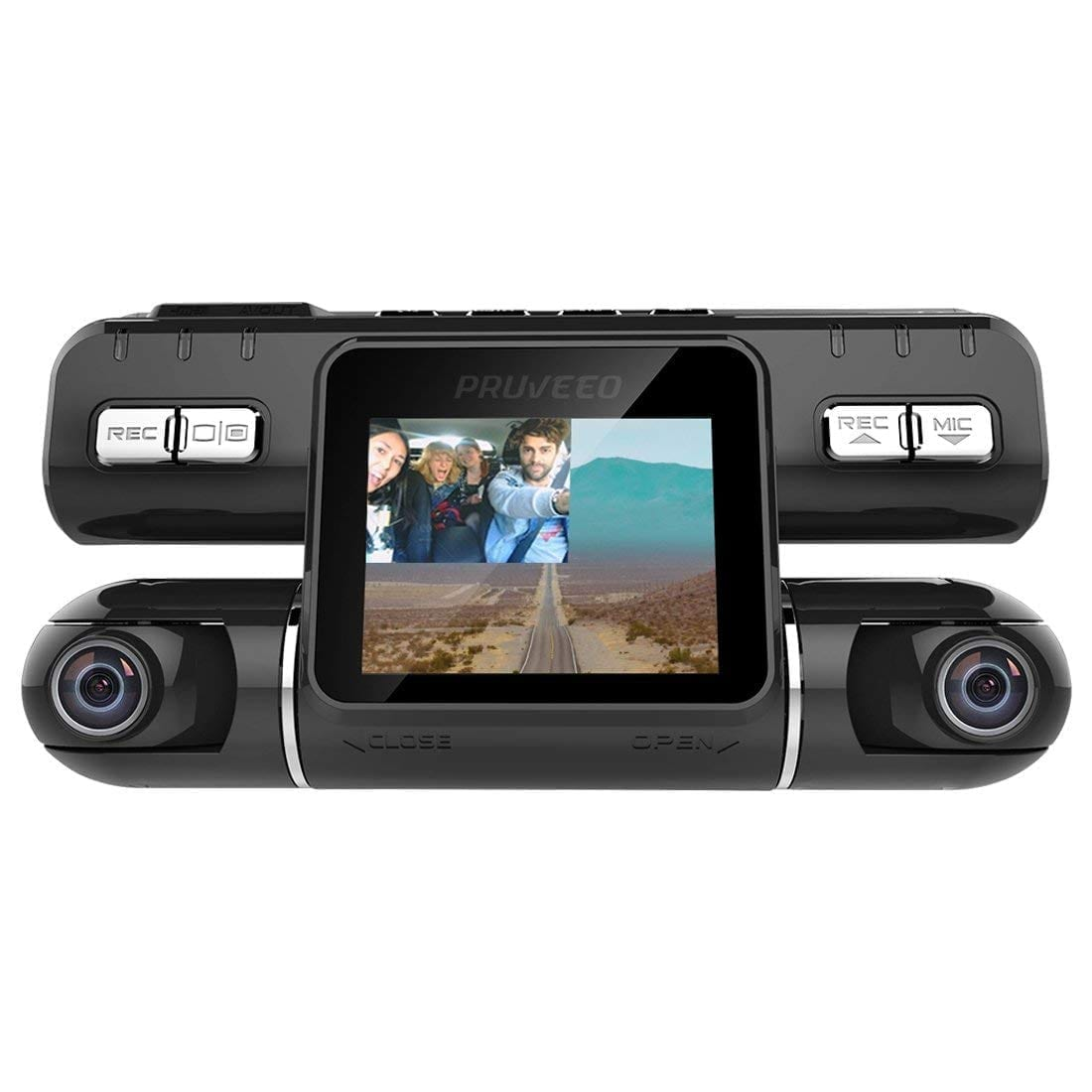 Pruveeo MX2 front and rear dash camera with 240o wide view angle