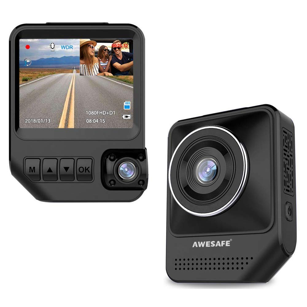 AWESAFE 2.31-inch 170o 1080P front & 120o 720P rear dash cams with night vision and wide view angle