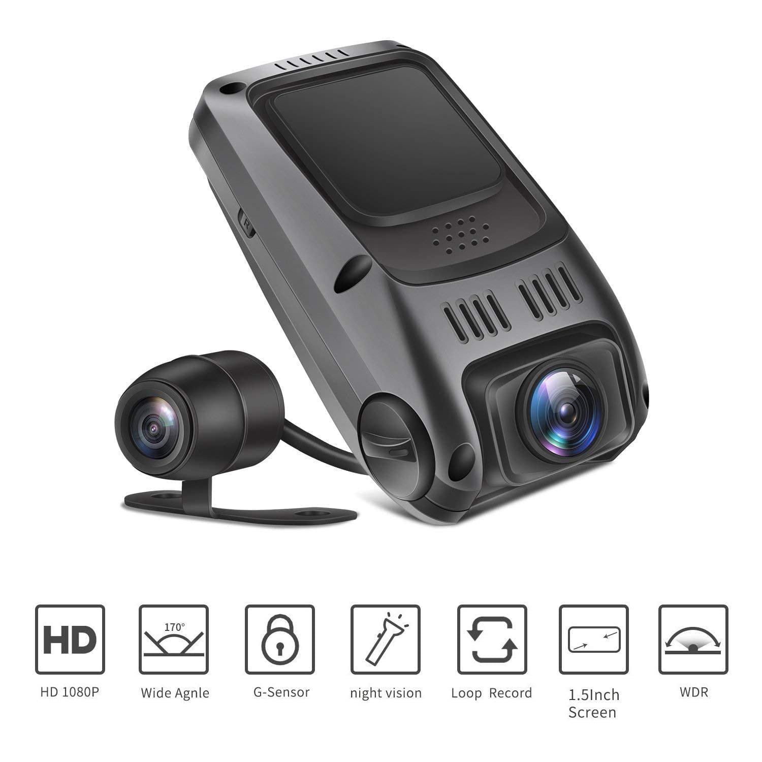 TryAce T7P front and rear dash cam recorder with full HD1080P 170o wide angle