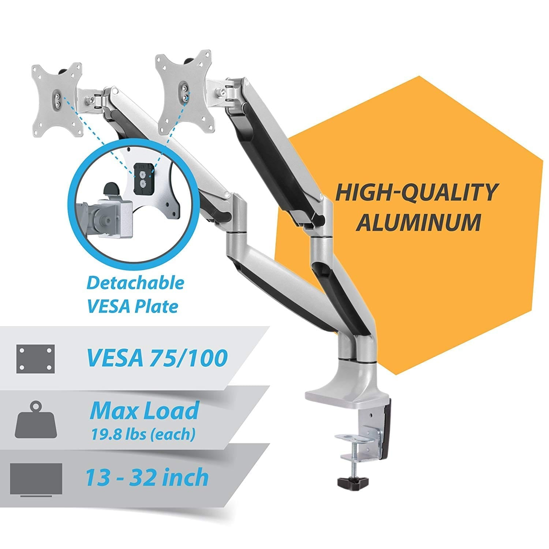 AVLT-Power Premium Aluminum Triple Dual Monitor Desk Mount Arm Stand