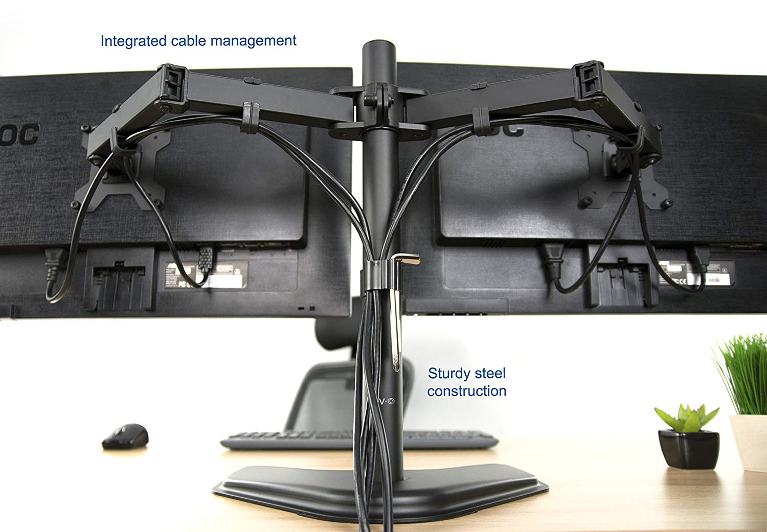 VIVO Dual Monitor Free Standing Desk Mount Stand
