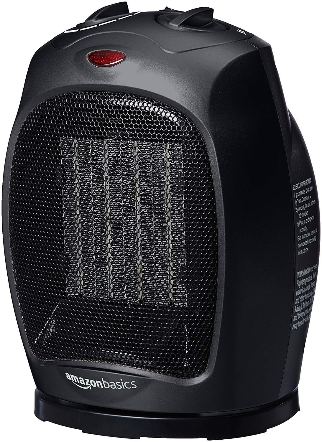 AmazonBasics 1500 Watt Oscillating Ceramic Space Heater with Adjustable Thermostat - Blackx