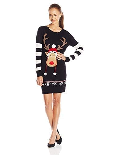 Blizzard Bay Juniors' Christmas Tunic Sweater Dress with Reindeer Pom Poms
