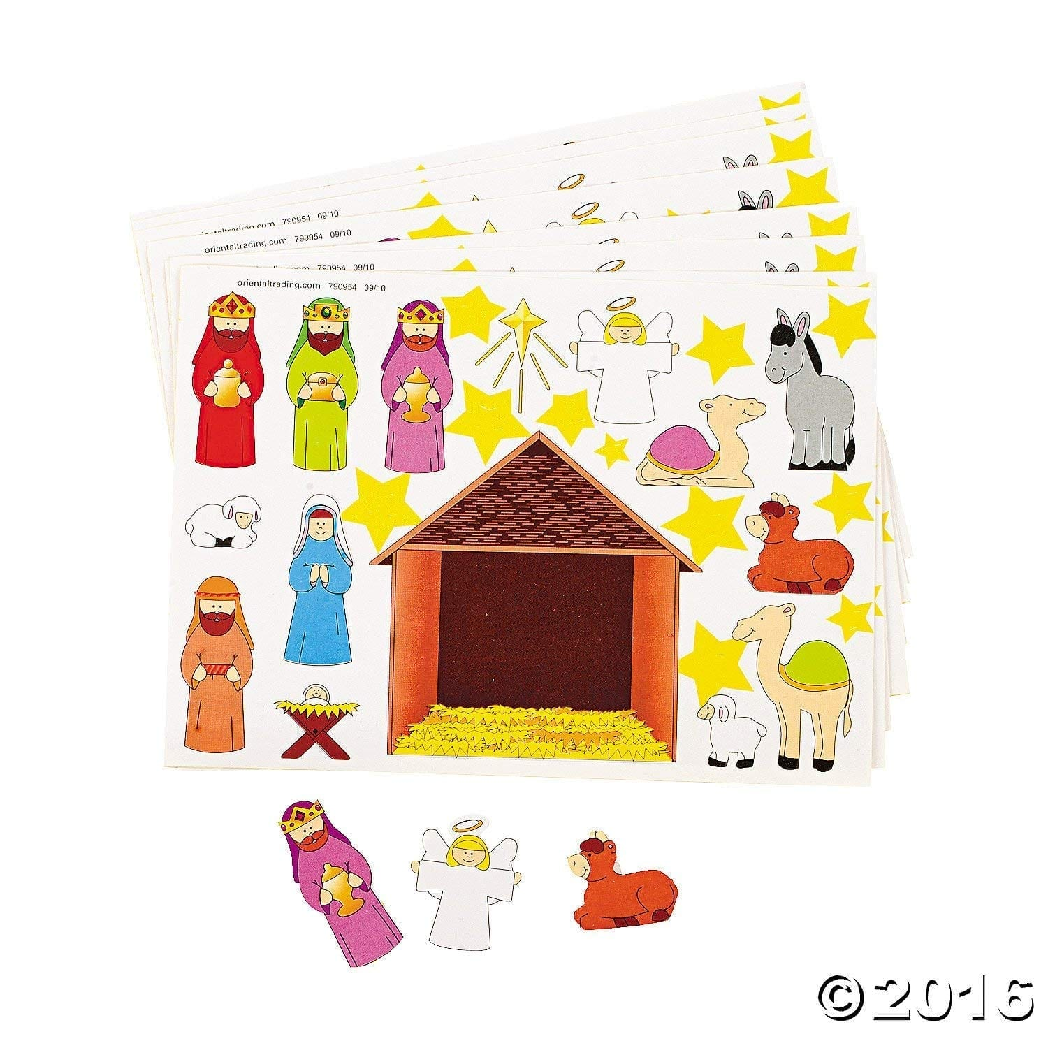 Dozen (24) Make a NATIVITY SCENE Sticker Sheets Religious Education