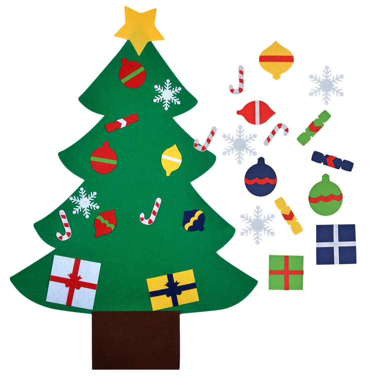 Felt Christmas Tree,Outgeek 3.2ft DIY Christmas Tree with 28 Pcs Ornaments Wall Decor