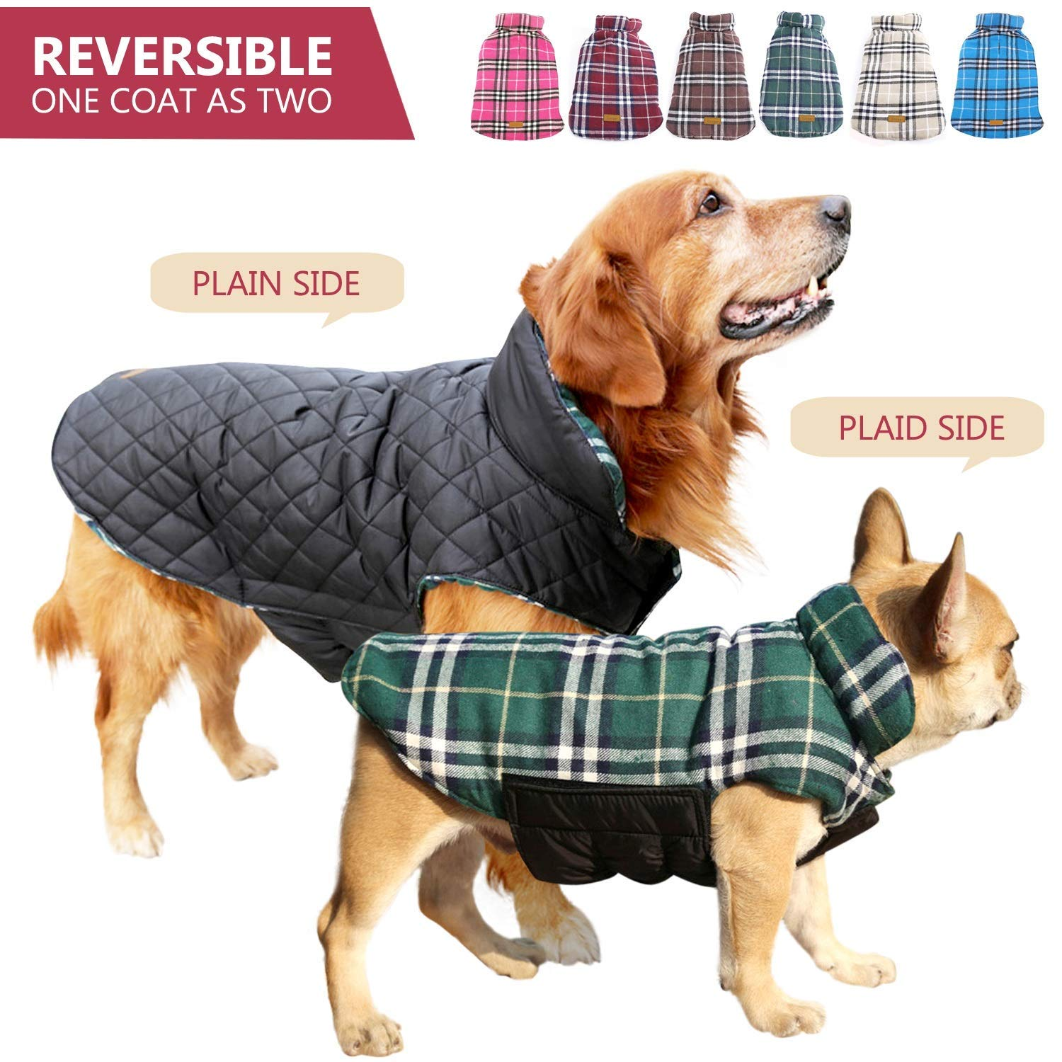 Kuoser Cozy Waterproof & Windproof Reversible Cold Weather Dog Jacket