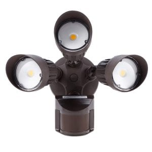 LEONLITE 3-Head 30W Motion Activated LED Outdoor Security Light