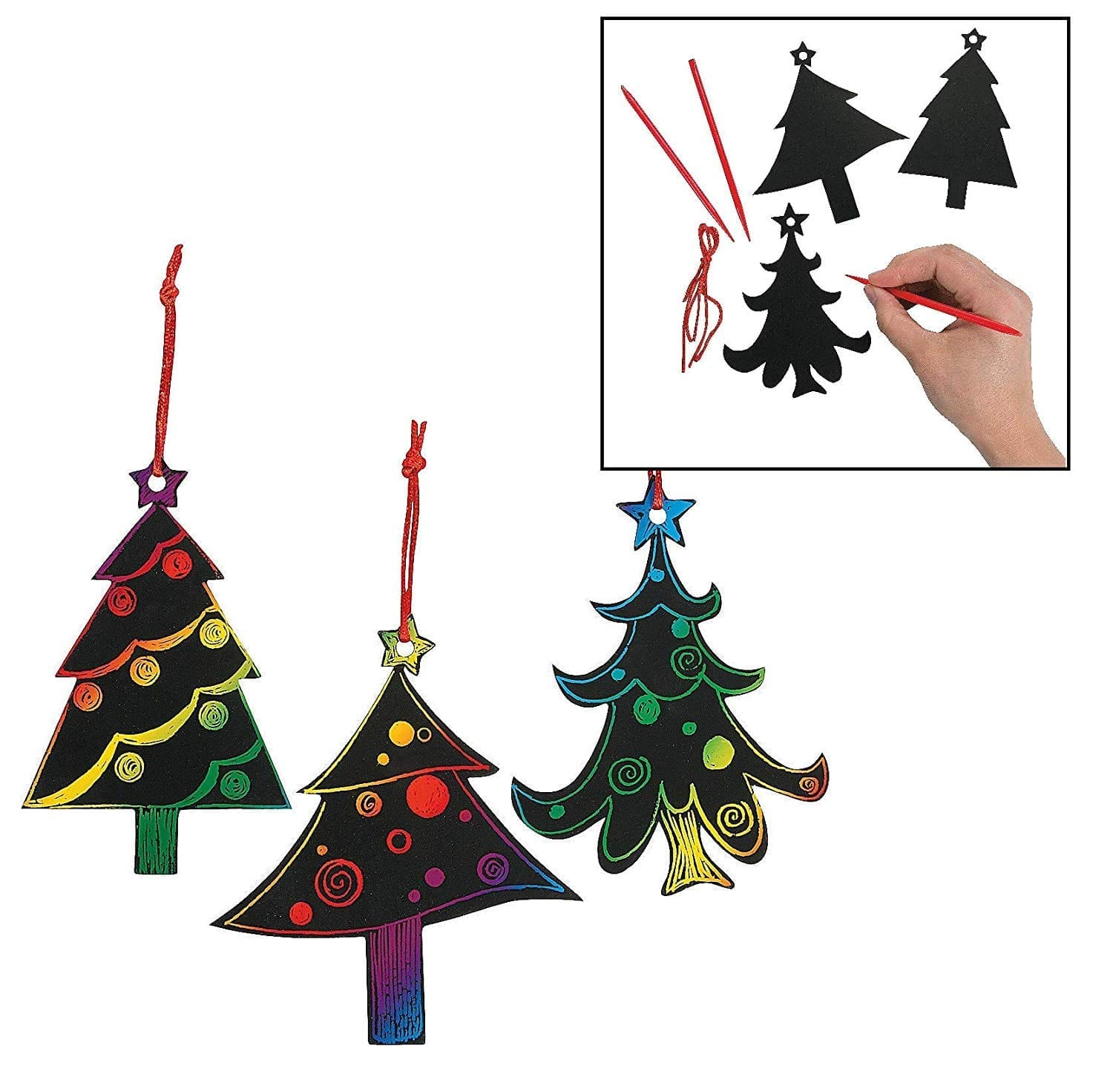 Magic Color Scratch Christmas Tree Ornaments (24 Count)