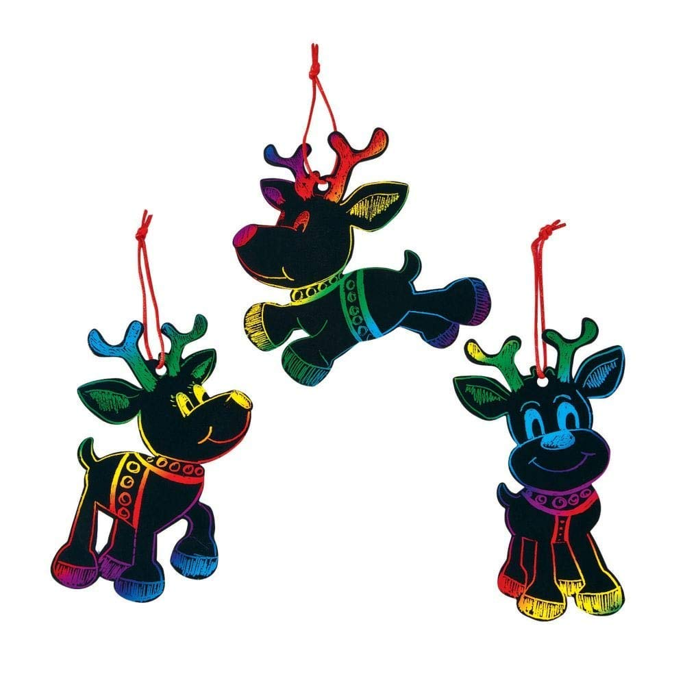 Magic Color Scratch Reindeer Christmas Ornaments (24 Pcs)