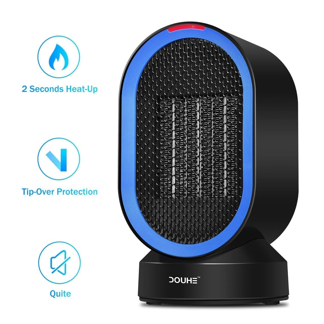 Portable Space Heater, DOUHE Electric COMPACT PERSONAL Heater, 600 Watts of Heat, Swing Mode, Tip-Over and Overheat Protection, Safety for Office Home Floor Under Desk