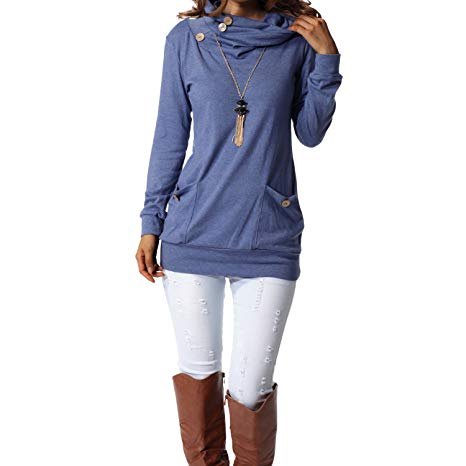 levaca Womens Long Sleeve Tunic Tops