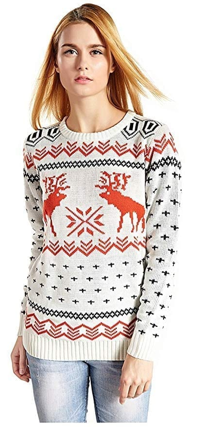 v28 Women's Patterns Reindeer Snowman Tree Snowflakes Christmas Sweater Cardigan