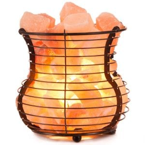 Crystal Allies Gallery Wire Mesh Basket Vase Lamp Salt Lamp