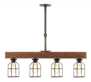 Farmhouse Lighting Triple Wood Beam Vintage Decor Chandelier