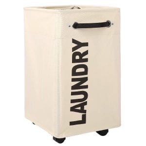 "Caroeas 23"" Pro+ Wheeled Laundry Hamper Black&White Breathable Cover Heavy Duty Laundry Sorter Dirty Clothes Organizer Waterproof Foldable Laundry Basket Extra Large Laundry Bag (Pro Plus 23"",Beige)"