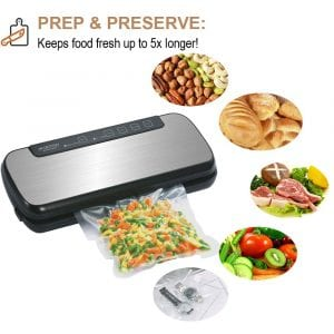 GERYON Vacuum Sealer, Automatic Food Sealer Machine with Starter Kit of Saver Roll, Bags and Hose for Food Preservation (Stainless Steel)