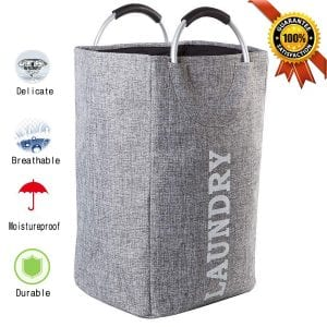 GOODTIME1989 Large Laundry Basket with Handles, Collapsible Dirty Clothes Basket Easily Transport Tall Foldable for Washing Storage(Grey)