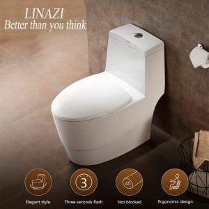 "LINAZI One Piece Toilet 12"" Rough-in Elongated Bowl"