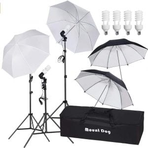 "MountDog 33"" Photography Umbrella Continuous Lighting Kit"