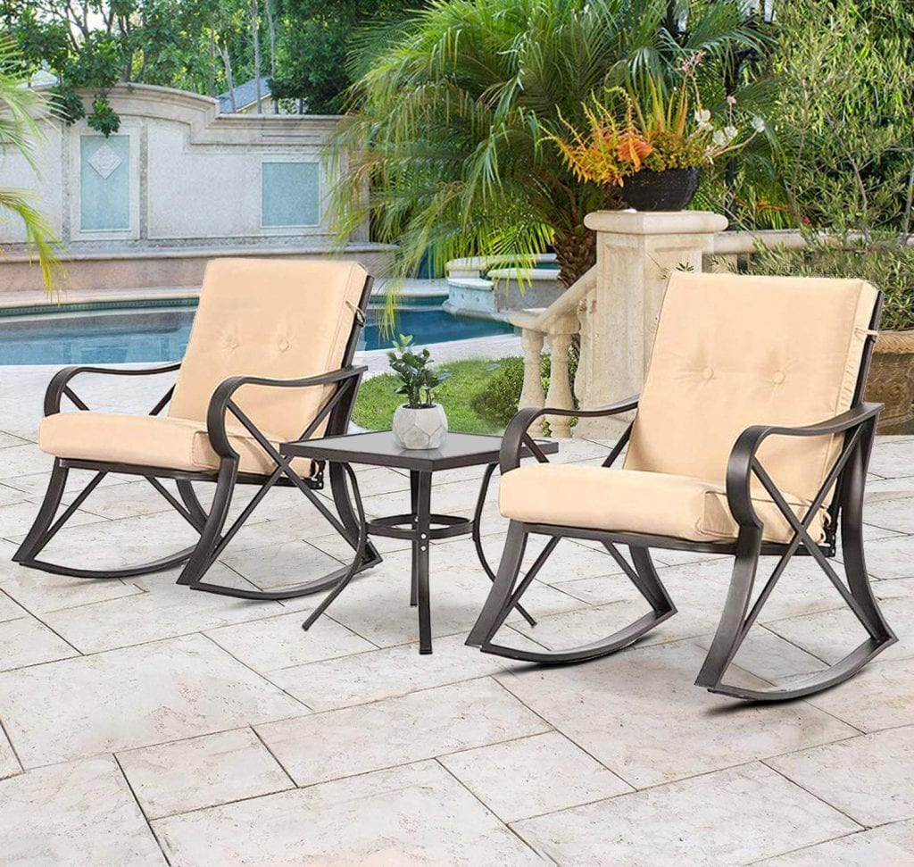 Solaura Outdoor Rocking Chairs Bistro Set