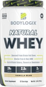Bodylogix Natural Grass-Fed Whey Protein Powder, NSF Certified