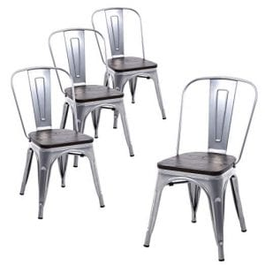Buschman Set of Four Gray Wooden Seat