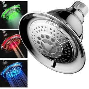 DreamSpa All-Chrome water temperature controlled 5 setting color changing LED showerhead - (Best Overall)