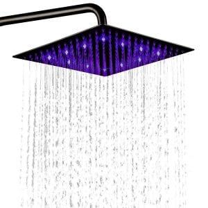"Hiendure 12"" Ultra-thin anti-clog 304 fixed stainless steel LED showerhead - (Best Fixed showerhead)"