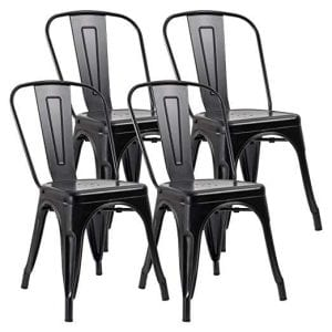 JUMMICO Metal Dining Industrial Vintage Chairs