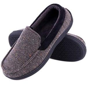 LongBay Men's Memory Foam Moccasin House Shoes