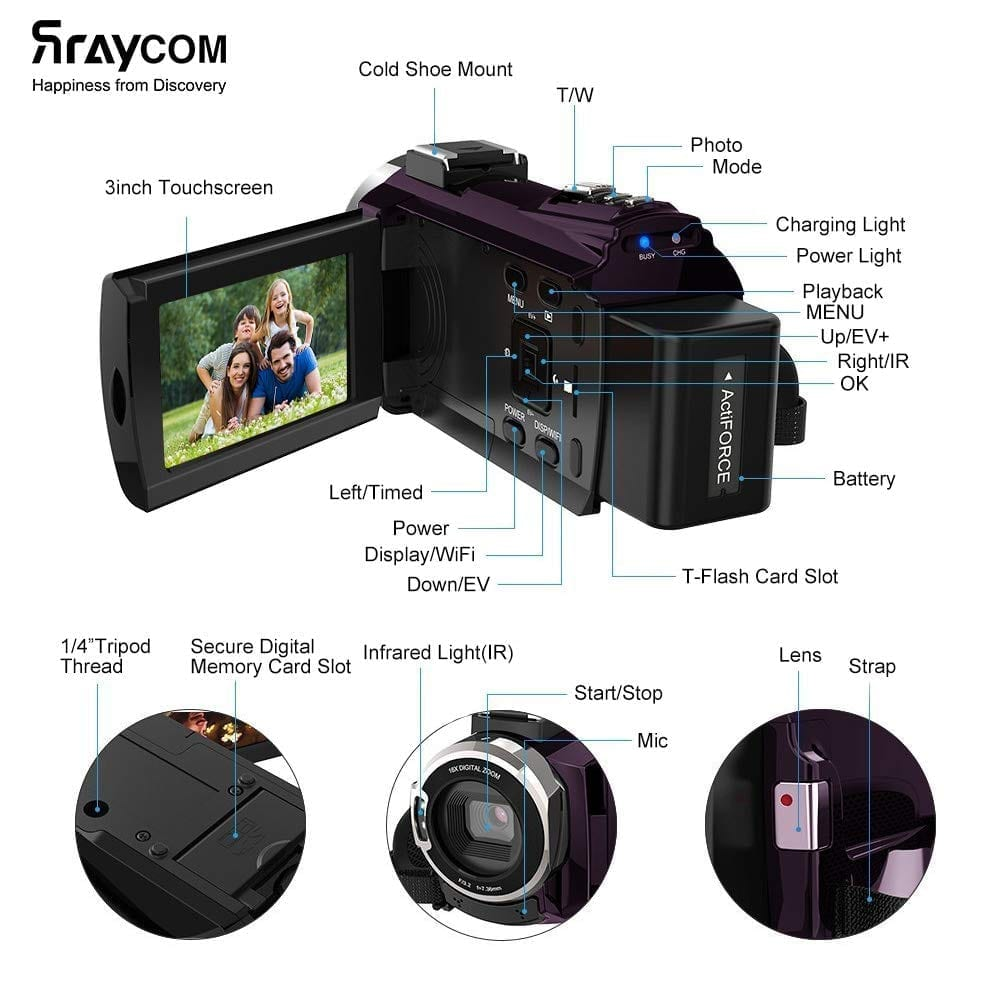 Rraycom 48MP Ultra HD Wi-Fi Camcorder