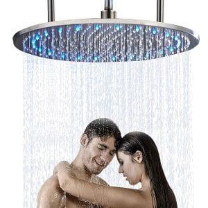 """Senlesen Bathroom Ceiling Mounted 20"""" Round Rainfall LED Showerhead - (Best Ceiling-mounted showerhead)"""