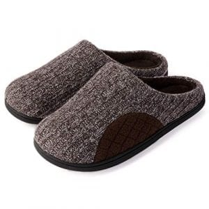 ULTRAIDEAS Men's Cashmere Cotton Knitted House Slippers