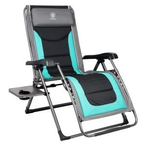 Zero Gravity Padded Patio Lounger Chair with Adjustable Headrest Support
