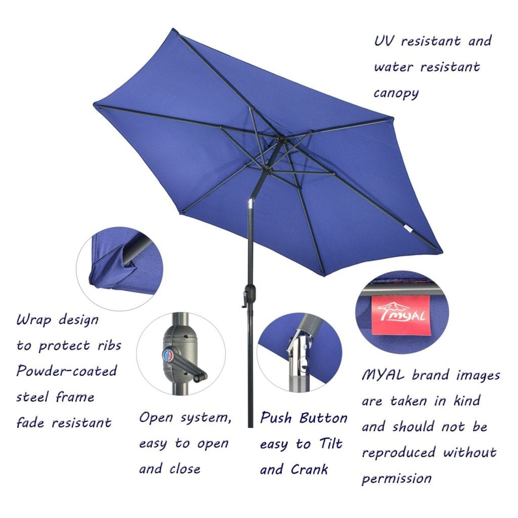MYAL 9ft Patio Umbrella Tilt Crank Canopy