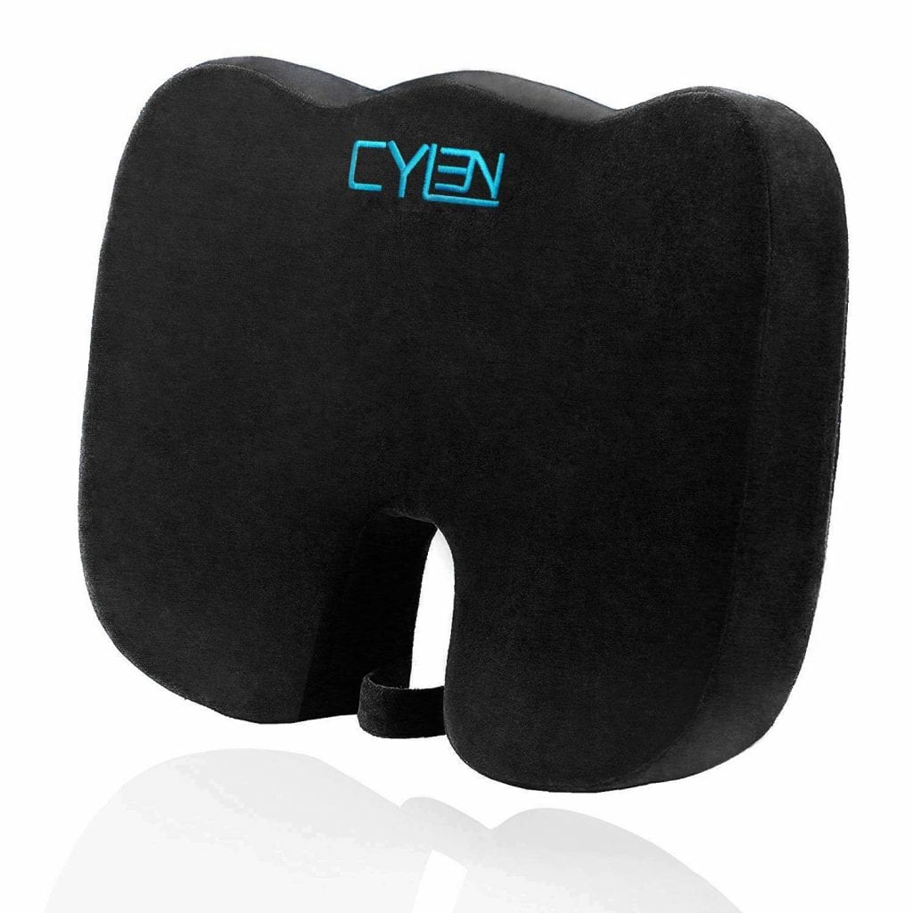 CYLEN Home-Memory Foam Bamboo Charcoal Infused Ventilated Othopedic Seat Cushion