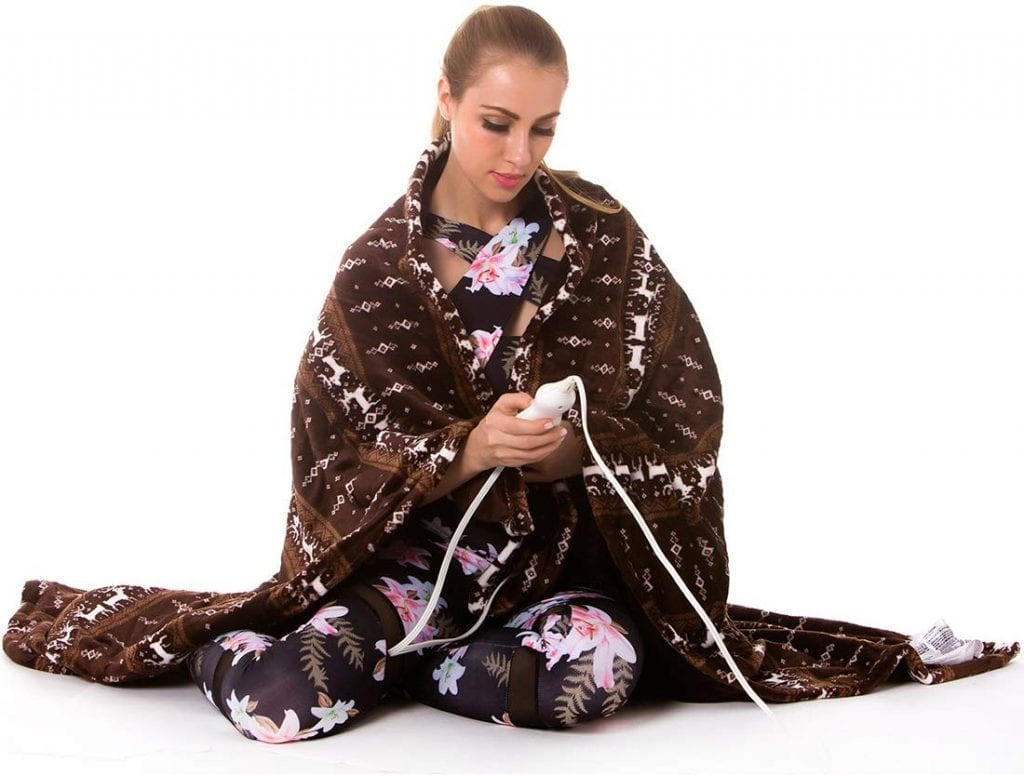 Tefici Washable Snuggle Heated Throw Blanket