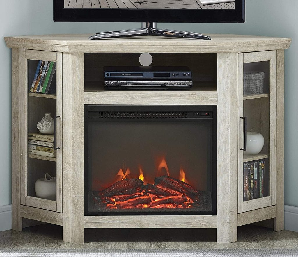 Wood Corner Fireplace Media TV Stand by WE Furniture