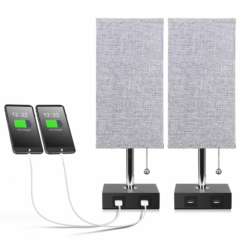 Aooshine Bedside Table Lamps with USB Charging Ports