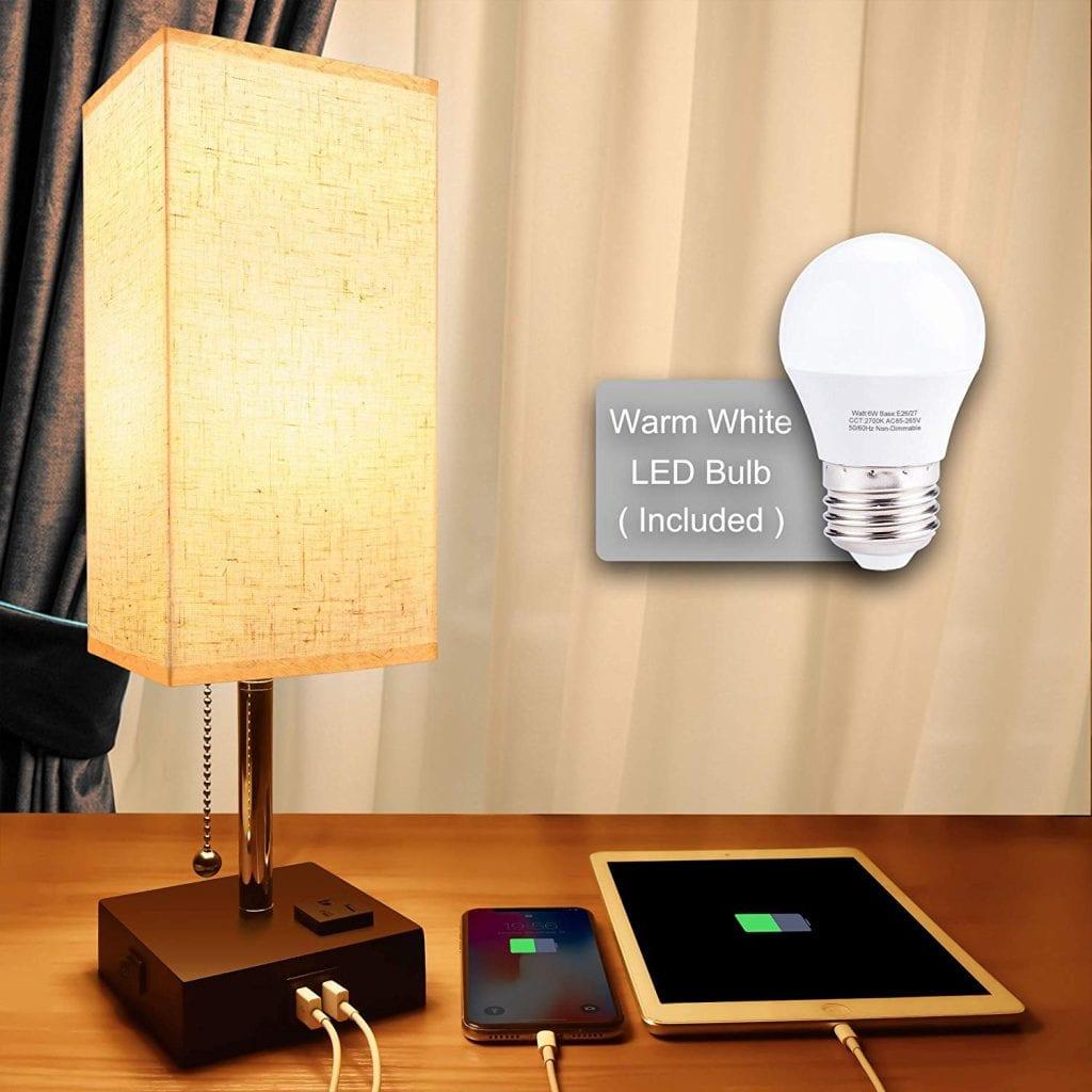 Cotanic Bedside Desk Lamp with Charging Port