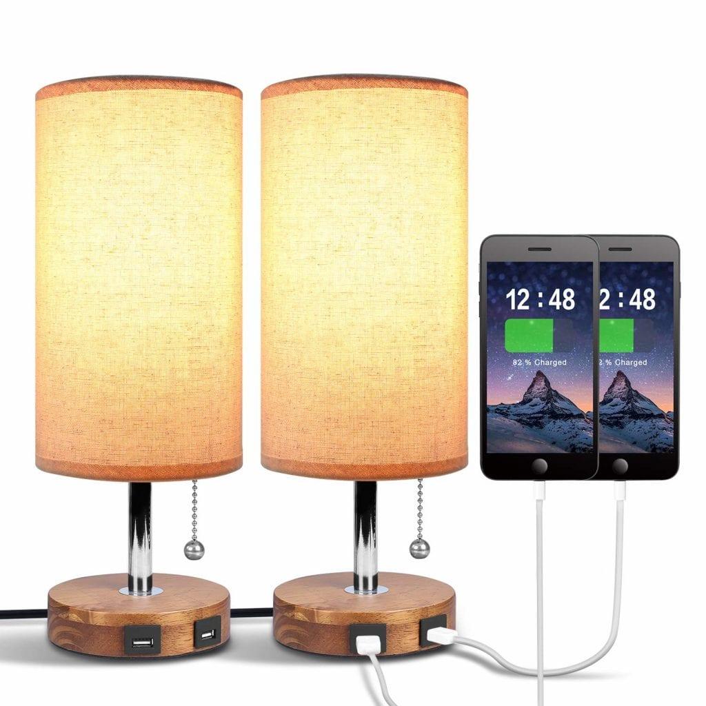 Seealle Dual USB Table Desk Lamp- Pack of 2